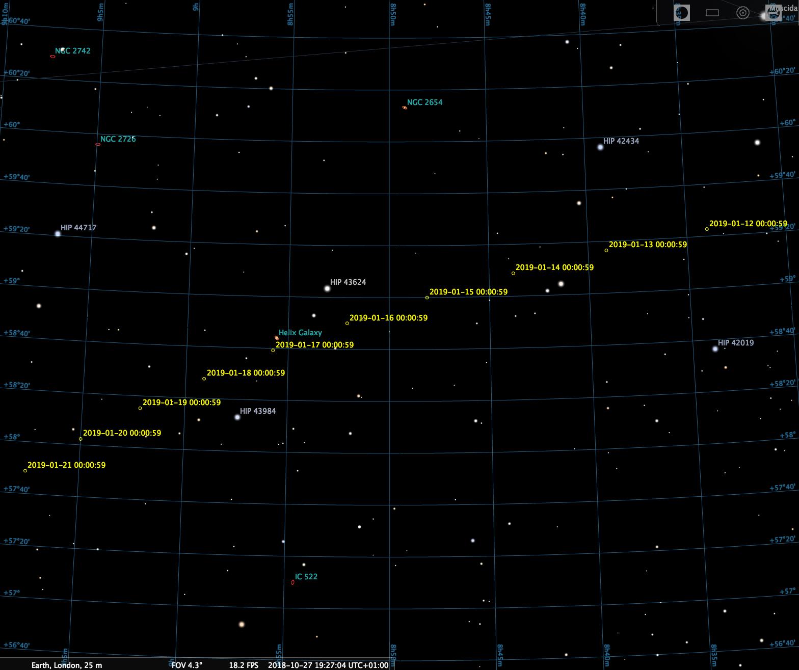 Christmas Comet 2019.Comet 46p Wirtanen Star Charts